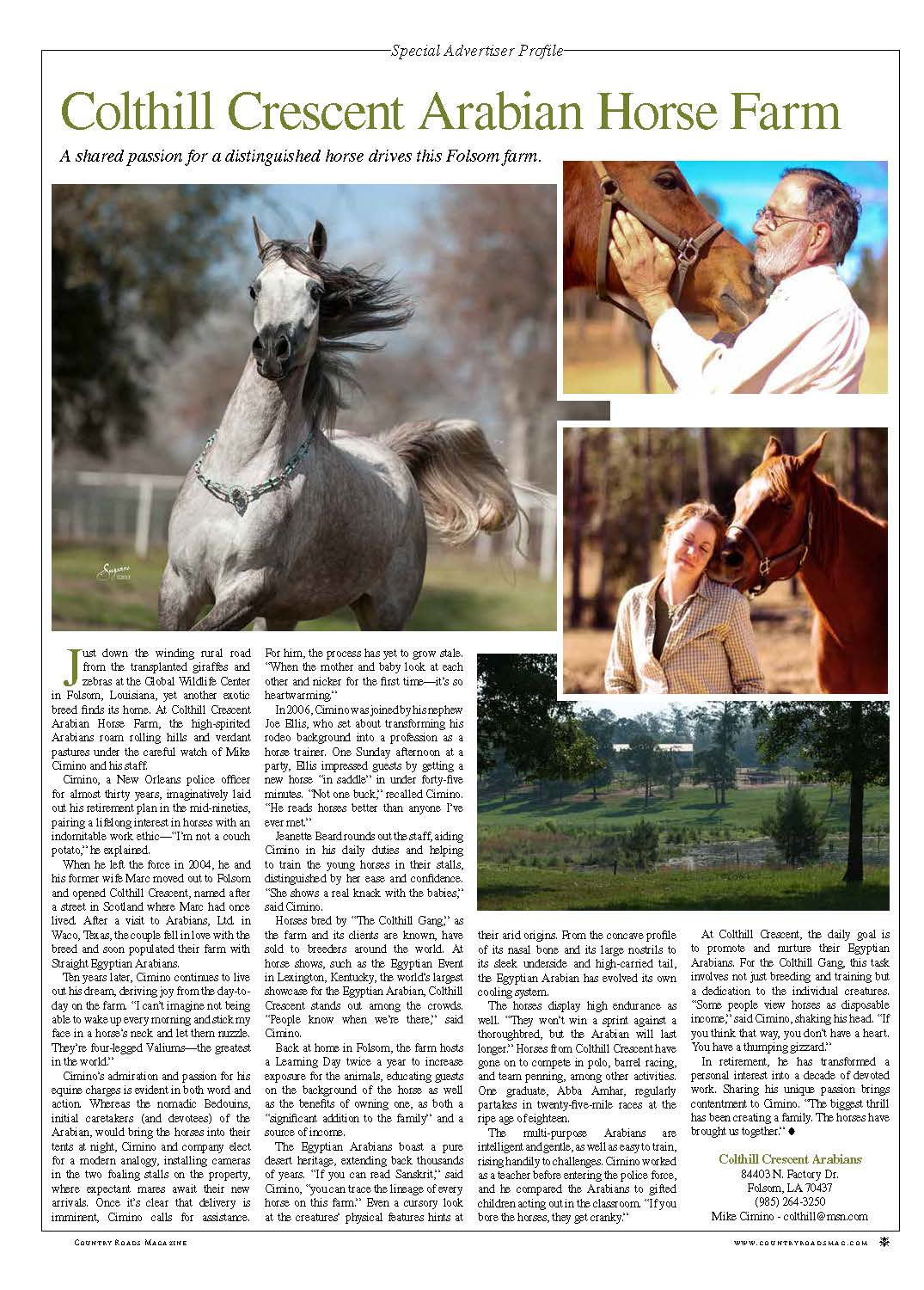 Colthill Spotlighted in Country Roads Magazine!